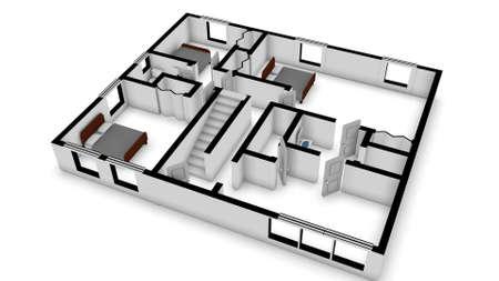 floorplan: home floorplan stylized in a 3D Illustration Stock Photo