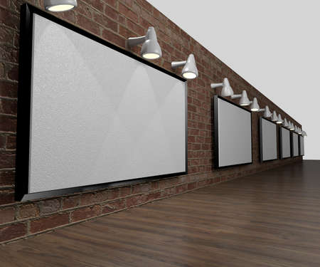 canvas on wall: canvas wall hanging on brick wall and wood floor in a 3D Illustration in a 3D Illustration Stock Photo