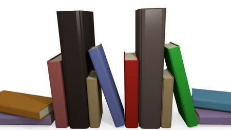 three objects: hardcover books in a 3D Illustration