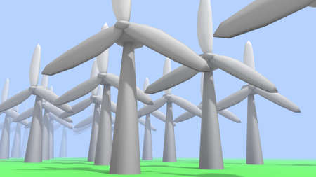 wind turbines in a 3D Illustration