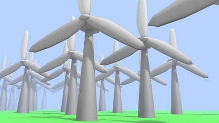 turbines: wind turbines in a 3D Illustration