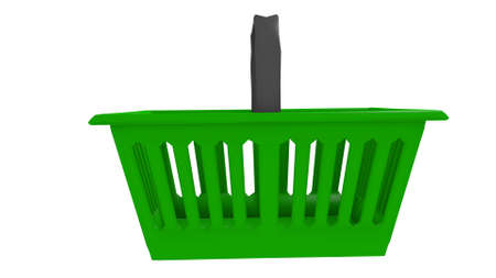 hand basket: hand basket for shopping in a 3D Illustration Stock Photo