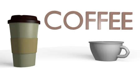 coffee beverage in a 3D Illustration Banco de Imagens