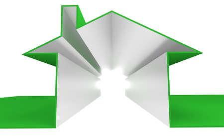 residential market: house outline in a 3D Illustration