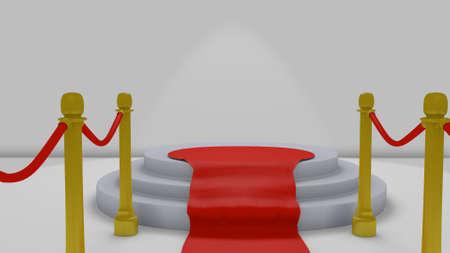 3 D イラストレーションで表彰台にレッド カーペット 写真素材