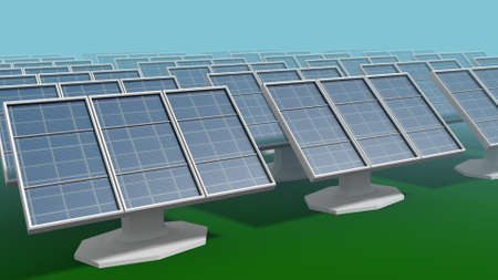 solar panels in a 3D Illustration