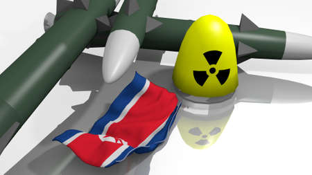 nuclear weapons: stylized warheads in a 3D Illustration Stock Photo