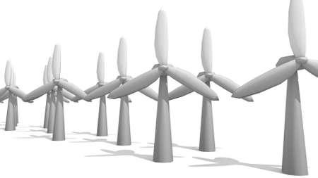 wind turbines in a 3D Illustration