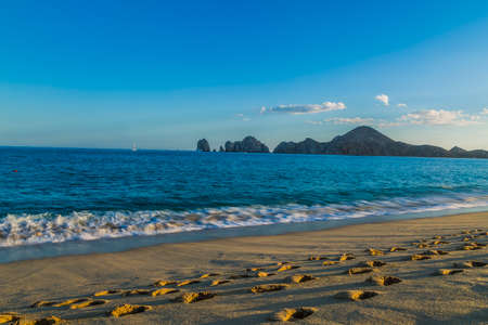 spring tide: Sandy Beach View of Waves at Beach in Mexico, Cabo San Lucas