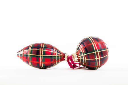 patterning: Christmas Ornaments with a Standard Brodie Clan Tartan Patterning Stock Photo