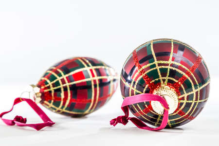 Christmas Ornaments with a Standard Brodie Clan Tartan Patterning Stock Photo