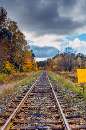 railway tracks: Railway Tracks in Remote Landscape Wilderness Stock Photo