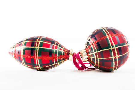 Christmas Ornaments with a Standard Brodie Clan Tartan Patterning Stok Fotoğraf