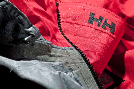 odin: KELOWNA, CANADA - NOVEMBER 14 2011 : Closeup View of Helly Hansen Odin Series Jacket, their top of the line mountain outerwear in an illustrative editorial Editorial
