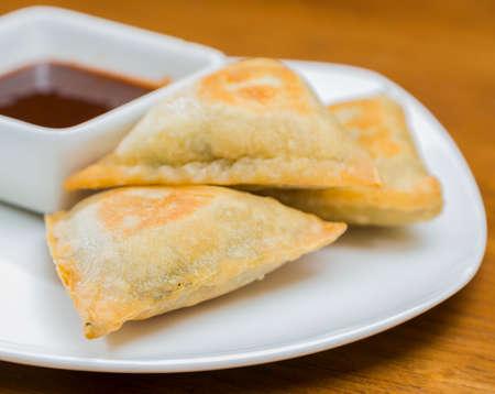 Samosas and Dipping Sauce Plate Closeup Reklamní fotografie