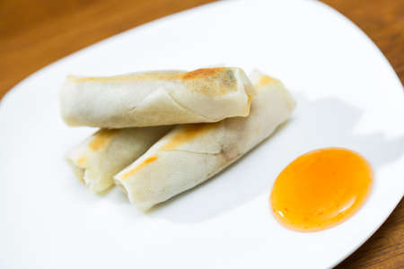 homestyle: Spring Rolls and Dipping Sauce Plate Stock Photo