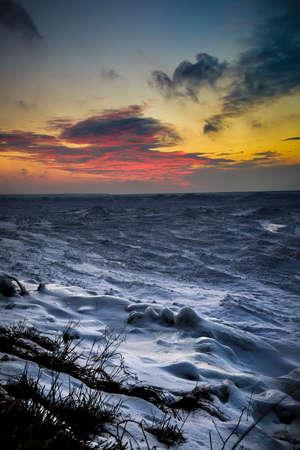 huron: Wintery Sunset on Lake Huron Shore