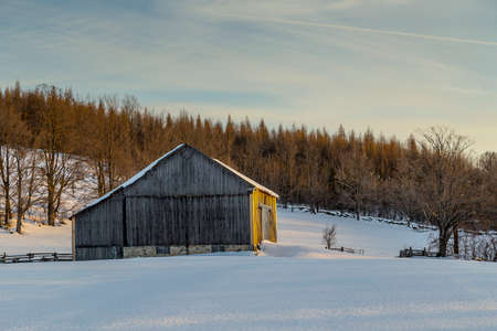 barns winter: View of an Old Barn