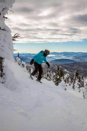 british weather: snowboarder winter view