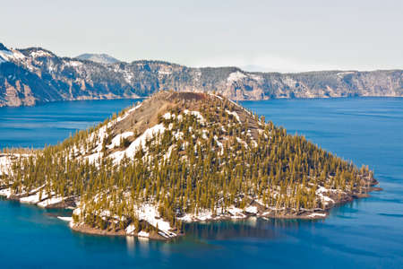 oregon  snow: island in the middle of crater lake in oregon