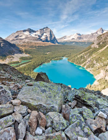 scenic view of lake ohara in canadian rocky mountains