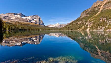 山の湖の風光明媚なビュー