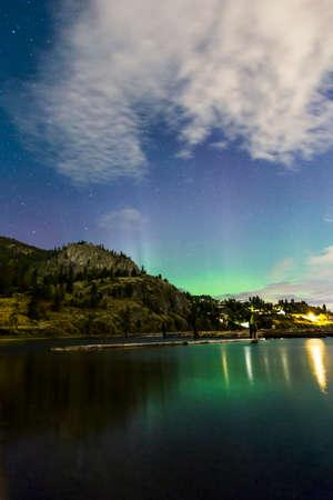 northern lights on mountain lake
