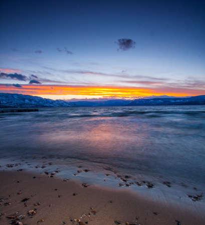 british weather: sunset on mountain lake