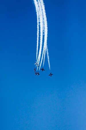 飛行機のフライトを同期 写真素材