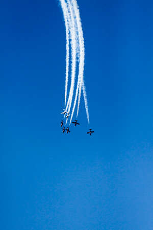 synchronized flight of airplanes Stock Photo
