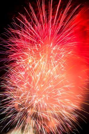 夜の花火のクローズ アップ ビュー 写真素材