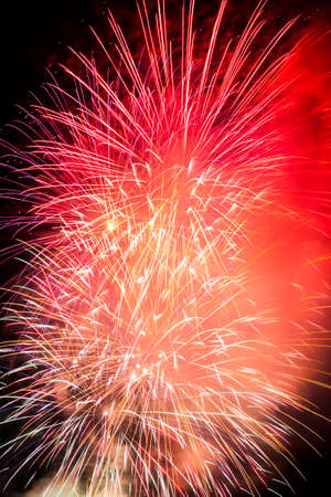 closeup view of fireworks at night