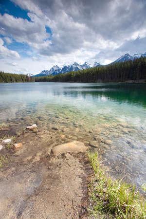 scenic view of herbert lake in banff