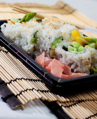 accompaniment: sushi takeout meal Stock Photo