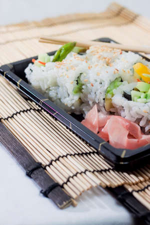 takeout: sushi takeout meal Stock Photo