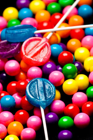 rotten teeth: closeup of bubblegum and candy Stock Photo