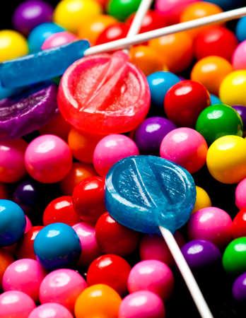 クローズ アップ ビューのすべての色のお菓子