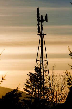 夕焼け空と風車 写真素材