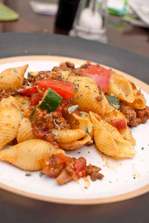 fresh pasta plate closeup