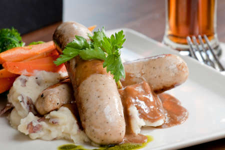 mash: bangers and mash in a restaurant