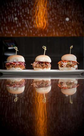 plate of pulled pork mini burgers Stock fotó