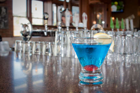 bartend: alcoholic cocktails at a restaurant