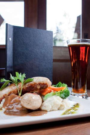 mash: restaurant plating of bangers and mash