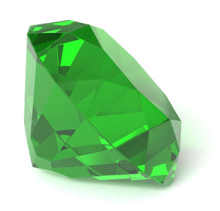 Emerald gemstone isolated with clipping path Stock Photo