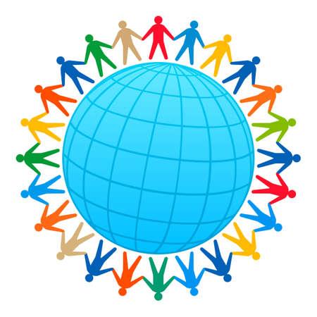 circular chain: People around of globe Illustration