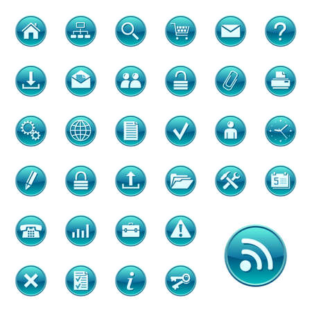Web icons, buttons. Round series 1