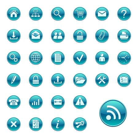 Web iconos, botones. Ronda serie 1