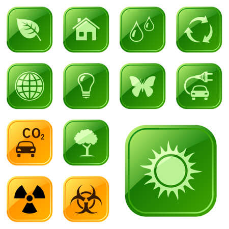 nuclear symbol: Ecological icons, buttons
