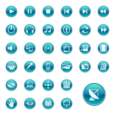 telecom: Web icons, buttons. Round series 3