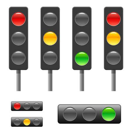 traffic control: Sem�foro & barra de Estado  Vectores